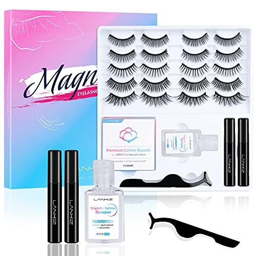 LANKIZ Magnetic Eyelashes with Eyeliner kit, Magnetic Lashes Set 10 Pairs with Oil-free Micellar Water and Tweezers, 2 Tubes of Waterproof Magnetic, Pestañas Postizas Magneticas (10 Pair)