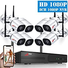 [2019 Newest] 1080P HD Wireless Security Camera System, ANRAN 8CH NVR Security Camera System 8pcs 2MP WiFi Surveillance IP Cameras Indoor Outdoor Video Security System Plug Play Night Vision (NO HDD)