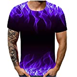 Unisex 3D Printed Shirts Summer Crewneck Humor Graphic Short Sleeve Tops T-Shirts for Men's (2XL, Purple -1)