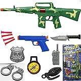 Rifle Gun Toy Machine Set Military Army, Playset 9Pcs, 16 Inches Long