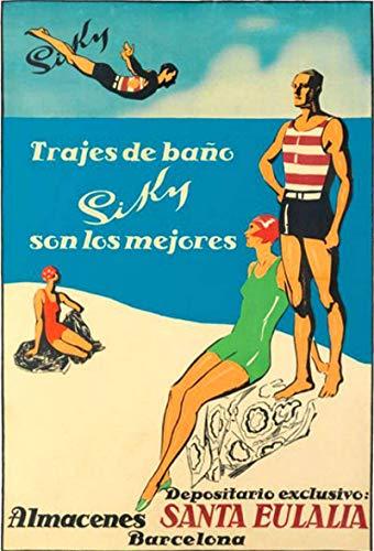 Cartel de viaje vintage de Santa Eulalia, Barcelona, España de 20 x...