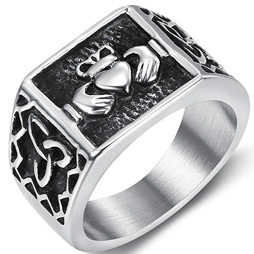 Jude Jewelers Stainless Steel Retro Vintage Celtic Knot Claddagh Style Signet Promise Statement Ring (Silver, 4)