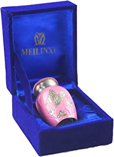 Keepsake Urns for Human Ashes Small Boxes, Mini Funeral Cremation Urns Adult - Fits a Small Amount of Cremated Remains - Display Burial at Home or Office Decor ( Pink Butterfly, Hand Engraved Brass