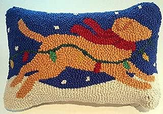 "Peking Handicraft Yellow Labrador Retriever Dog Christmas Lights Mini Hooked Wool Pillow – 8"" x 12"""
