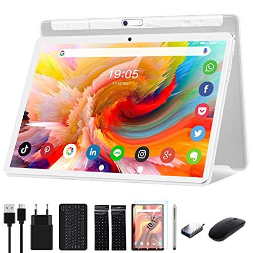 Tablet 10 Zoll Android 10.0 5G WiFi Google Tablett Pad mit Tastatur Maus Stift,32GB ROM 128GB erweiterbar Octa-Core-Prozessor 13MP&5MPKamera 1920x1200 IPS FHD-Display GPS WiFi Buletooth OTG Silver