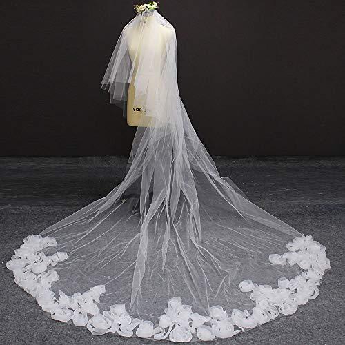 WFSDKN sluier voor bruiloften, mooie ruches, sluier met oogschaduw, 2 lagen, deken, gezicht, wit, ivoorkleurig, bruidssluier met kam, 300 cm