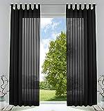 2er-Pack Gardinen Transparent Vorhang Set Wohnzimmer Voile Schlaufenschal mit Bleibandabschluß HxB 245x140 cm Schwarz, 61000CN