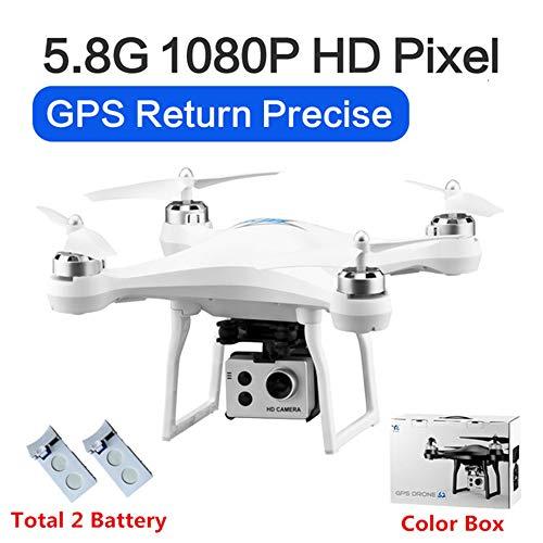 RC Drone GPS Drones met 5G WiFi 1080P HD Groothoek Elektronische camera GPS Intelligent Volgend quadcopter Vlieg 18 minuten Speelgoed, kan als cadeau aan uw kind worden gegeven,White,2battery