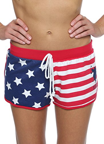 US Polo Assn. Womens Sleep/Lounge Flag French Terry Shorts Lipstick Red Large