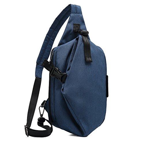 DTBG Sling Rucksack Brusttasche Nylon Schultertasche Wasserdicht Crossbody Tasche mit verstellbarem Schultergurt für Fahrrad Sport Wandern Camping Schule Herren Damen, blau