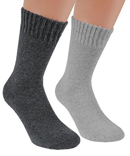 Vitasox 33352 Herren Socken Wolle Angora Wollsocken Herrensocken Angorasocken Wintersocken einfarbig mit Innenfrottee anthrazit grau 2 Paar 39/42
