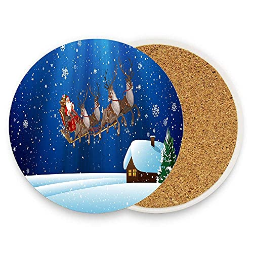JOOCAR Ceramic Coasters for Drinks Absorbent Round Coasters Set of 2 Winter Snow House Christmas Snowflakes Santa Claus Cup Mat with Cork Backing for Coffee Wooden Table