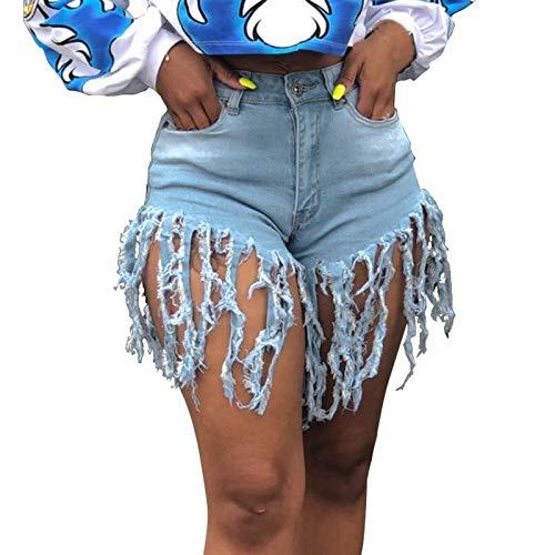YANFANG Moda Mujer Slim Sexy Cintura Alta Pantalones Cortos de Mezclilla con borlas Pantalones Regulares,Light Blue,S
