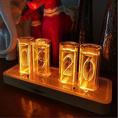 ZJDM Reloj de Tubo, Reloj LED Nixie, Reloj Despertador, Reloj Digital LED, Reloj Vintage Reloj de Tubo Nixie de 4 dígitos con Sensor de luz Interior, USB Tipo C Alimentado, Regalos para maridos p