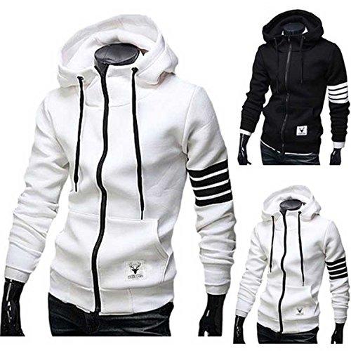 Feverlogic1881 Hoodies Men Sweatshirt Tracksuit Sport Zipper Sportswear (3XL/4XL(US)=5XL(Asia), White)