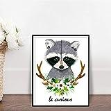 ganlanshu Pintura sin Marco Cute Bear Kids Room Decoration Imagen Esquina póster e impresión Animal Flower Wall Art decorationZGQ3837 60X80cm