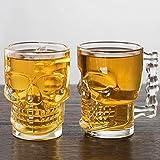 2 piezas de calavera de cerveza de vidrio con asa,jarra de cerveza espesa,jarras de súper personalidad,taza de jugo espesado,para bar KTV taza de cerveza de vidrio con personalidad creativa (500 ml)