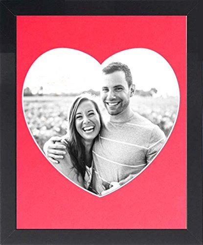 Frame Company fotolijst met hartvorm zwarte mouw, grootte 10 x 20,3 cm Zwart frame. 10x8-Inches Red Mount
