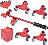 Elevador de Muebles con Ruedas, Juego de Transporte de Muebles con 4 Deslizadores, Juego de Herramientas para movimiento de rodillo de muebles pesados Máximo Carga 400kg/880Libras Poweka (Rojo)