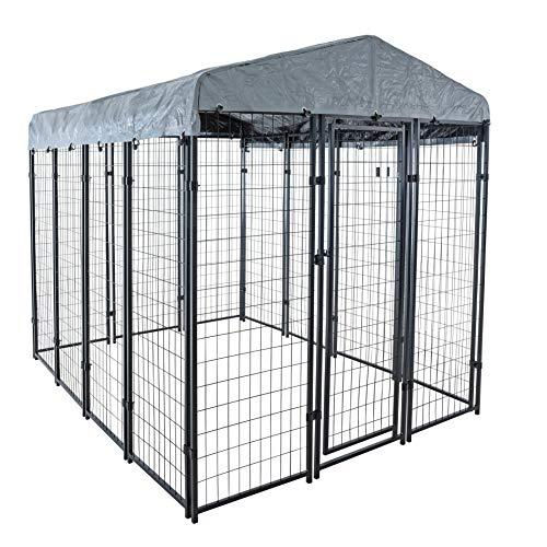 ESTEXO Hundezwinger Hundekäfig 245x176x209 cm Hundehütte Hundehaus Zwinger mit Dach Überdachung