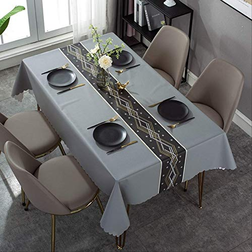 YALINA Mantel De Comedor De Alta Gama, Mantel De PVC Impermeable para Mesa De Comedor De Sala De Estar, Decoración De Mesa Rectangular 120 * 120 S205