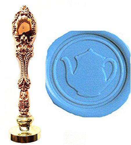 MNYR Vintage Ketel Theepot Wax Seal Stamp Luxe Brons Metalen Pauw Decoratieve Bruiloft Uitnodigingen Cadeaukaart Papier Stationaire Envelop Seals Aangepaste Bedrijf Logo Monogram Wax Seal Sealing Stamp Set Rosegoud