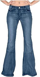 AOGOTO Pantalones vaqueros clásicos de corte de bota para mujer con corte de bota con botones y bolsillo oculto