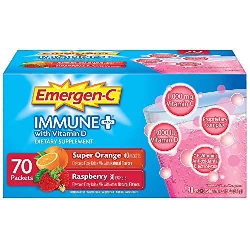 Emergen-C Immune+ System Support Dietary Supplement Drink Mix With Vitamin D, 1000mg Vitamin C - 70 packets (30 - Raspberry Flavor, 40 - Super Orange Flavor)