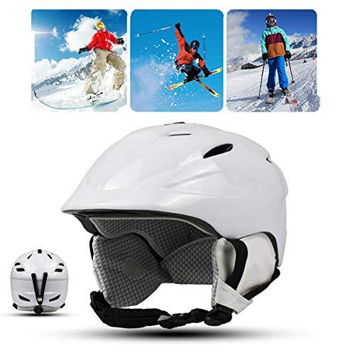 Qinsir Casque Snowboard avec Adulte,Casque De Ski De Course Certifié EN1077 Casque De Ski pour Le Ski Tête Oreille en ABS + EVA pour Kayak Canoë Snowboard Skate Ski Surf,Blanc,M(54~58CM)