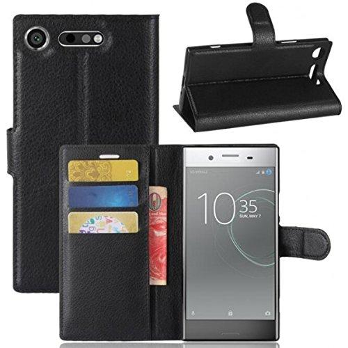 COPHONE® Funda de Cuero Negro Sony Xperia XZ1. Funda Protectora Funda Monedero Negro Sony Xperia XZ1. Carcasa Magnético Xperia XZ1
