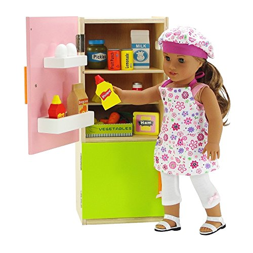 Emily Rose 18 inch Doll Wooden Kitchen Refrigerator with Freezer, Includes 20 Colorful Wooden Pretend Food Accessories | Fits American Girl Dolls | Doll Not Included