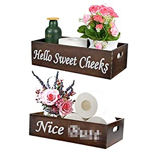 2 Pack Nice Butt Bathroom Decor Box Farmhouse Rustic Wooden Box Crate Storage Bin Organizer Toilet Paper Holder Toilet Tank Topper Over Top of Toilet Box (Spray Bottle & Artificial Flower Included)