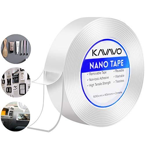 Nano Klebstreifen,600CM Doppelseitiges Transparentes Klebeban,Wiederverwendbares,Abnehmbares Waschbares Nano Band,Vielseitig Verwandtes, Nahtloses, Spurloses Küchenklebeband.