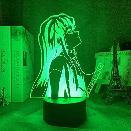 RenXin 3D lámpara de noche niña niño demonio asesino kimetsu no Yaiba muichiro tokito LED dormitorio decoración regalo noche lámpara anime 3D lámpara multi-Lo lámpara niño noche luz