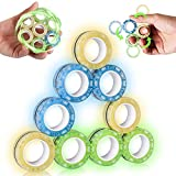 LM-Sauphviva 9Pcs Magnetic Rings Fidget Toy Set,Figetget Toys Glow in The Dark, Fidget Magnets Spinner Rings for Anxiety Relief Autism Therapy, Fidget Box Great Gift for Adults Teens Kids.