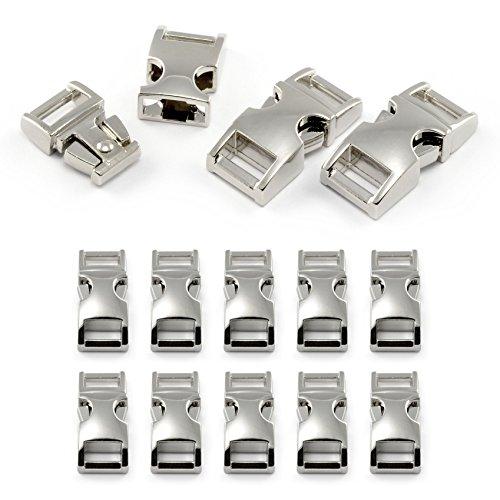 """Fermoir à clip en métal allié, idéal pour les paracordes (bracelet, collier pour chien, etc), boucle, attache à clipser, grandeur: S, 3/8"""", 33mm x 15mm, couleur: argent, de la marque Ganzoo - lot de 10 fermoirs"""