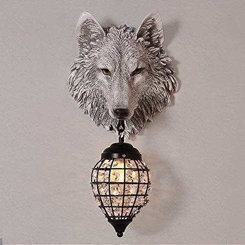 ZUQIEE Lámpara de pared estilo nórdico cafetería retro creativa cabeza de lobo sala de estar decoración de pared lámpara de pared pasillo barra frontal lámpara de noche Descubre la luz