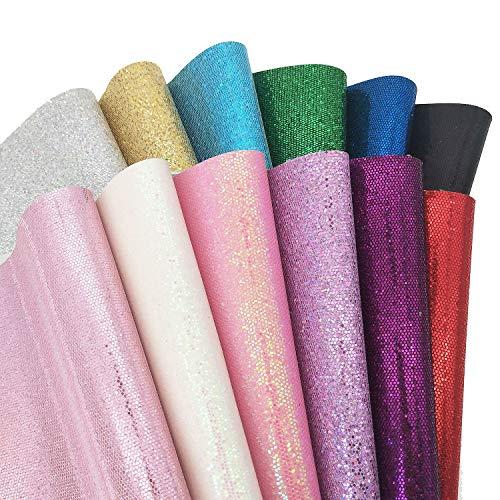 ZAIONE 20 cm x 30 cm, hojas coloridas de varios estilos, múltiples combinaciones, múltiples atributos, manualidades, tela de piel con purpurina para zapatos, bolsos, costura