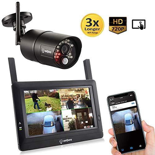 Sequro GuardPro 720p DIY drahtloses Videoüberwachungssystem mit großer Reichweite - 7 Zoll Touchbildschirm - 1 Außen-/Innenkamera mit Nachtsichtfunktion - IP66 wetterfest
