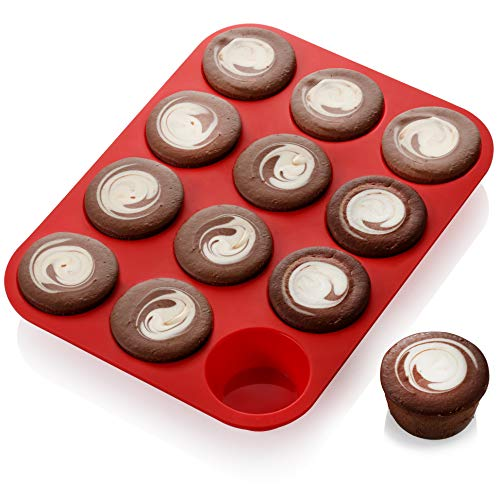 Skarles Superior Quality 12-Cup Silicone Mold - Non-Stick Muffin Pan Crafted of Thick, Solid Silicone. BPA-Free, Food-Grade Cupcake Pan   Dishwasher-Safe & Heat-resistant. Effortless Release