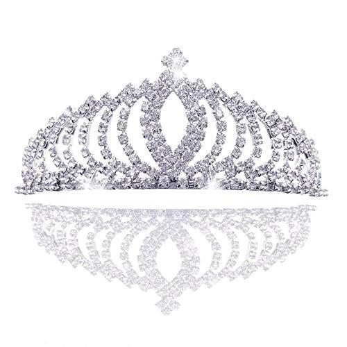 REYOK Tiara diadema con Pettine per Bambina e Donna, Tiara Sposa Tiara Principessa Corona Principessa Cerchietto Sposa Copricapo Capelli,Strass Crista
