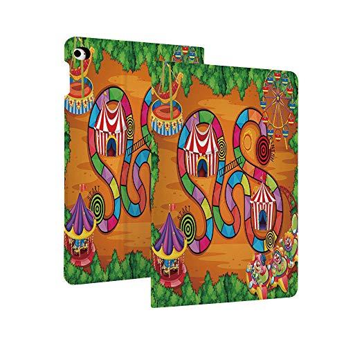 Brettspiel-Schutzhülle für iPad 7. Generation 10,2 Zoll (2019,Scheune, rustikale Bauernhoflandschaft, Gemüse, Natur, Kuh, Schwein, Ente, Farmer, Boy, Cartoon, dekorative Leder-Schutzhülle, Smart