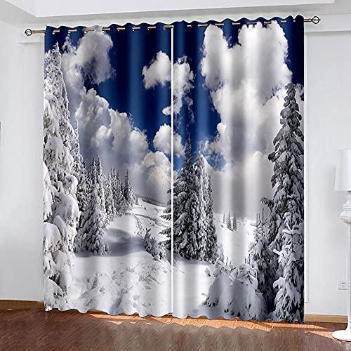 DRFQSK Cortinas Infantiles Impresión Digital Escena De Nieve De Las Montañas Blancas De Invierno 3D Cortinas Opacas Termicas Aislantes Cortinas Dormitorio Moderno con Ollaos, 2 Paneles 234 X 230 Cm(A