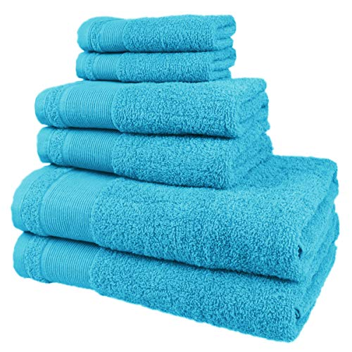 MERCURY TEXTIL - Juego de Toallas, de 100% Algodón Colores Resistentes,Gimnasio, Piscina,Cuarto de Baño,Casa (Azul Turquesa, 2 baño + 2 Manos + 2 bidé)