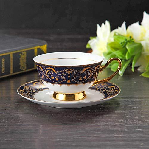 DCGSADFW IKEA Simple Europea Bone China Noble de la Estrella Taza de café Juego de té de Flores Taza de té de Regalo de la Taza (200 ml de Capacidad) (Color : Azul)