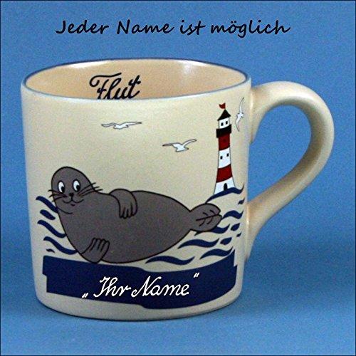 Kunst und Keramik Gerader Namensbecher mit Robbe