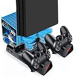 Likorlove Soporte PS4, Base de carga para playstaion 4 Consola con 2 Ventilador de Refrigeración, Estantería para 10pcs Discos Juego, Cargador de Mandos con Cable USB-C y LED Indicator - Negro