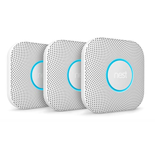 Google S3006WBUS Nest Protect, S3000BWES, 2nd Gen, Battery, 3-Pack Alarm-Smoke Carbon Monoxide Detector, 3, White, 3 Count