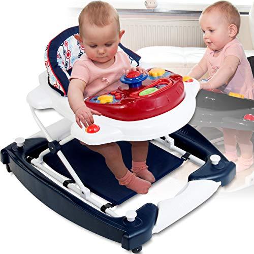 Lauflernhilfe mit Schaukelfunktion und Spielcenter (Musik und Lichtfunktion) / Gehfrei Laufhilfe Lauflernwagen Babyschaukel Babywippe