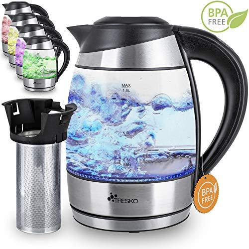 TRESKO Glas Wasserkocher 1,8L Edelstahl mit Teesieb und Kalkfilter | LED Innenbeleuchtung | TÜV-Rheinland zertifiziert | 2200W | mit Temperatureinstellung | Warmhaltefunktion
